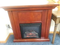 brown wooden framed electric fireplace Round Lake Beach, 60073