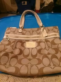brown and blue Coach monogram tote bag Lubbock, 79415