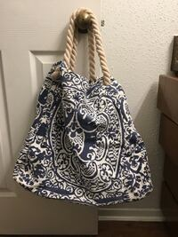Women's navy and white  beach rope bag Leon Valley, 78238