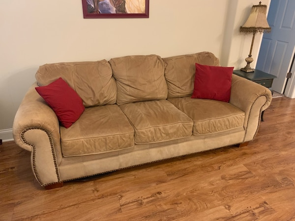Admirable Tan Leather And Microfiber Couch Uwap Interior Chair Design Uwaporg