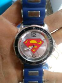 round silver-colored Superman analog watch with blue strap Pensacola, 32506