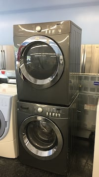 two black front-load clothes washer and dryer set Toronto, M3J 3K7