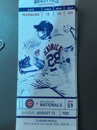 Cubs tix behind dugout for tonight! Chicago, 60603