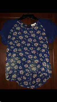 blue and white floral button-up shirt Winfield, 25213