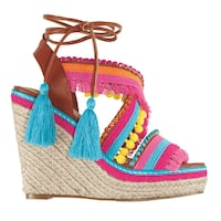 pink-and-blue knitted wedge sandals Lachute