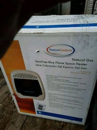 vent, free, blue flame space heater, price sticker still on it, 3 year