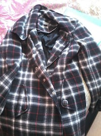 black, white, and red plaid button-up jacket