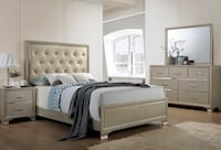 Tufted champagne bed set Stafford, 77477