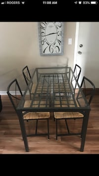 rectangular black metal framed glass top table with chairs Ottawa, K0A