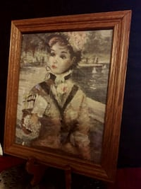 Mid Century Victorian Lady in Central Park Framed