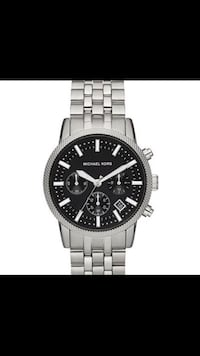 round black Fossil chronograph watch with silver link bracelet screenshot