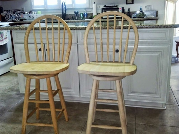 Counter-height wooden stools