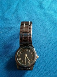 round black face analog watch with silver link