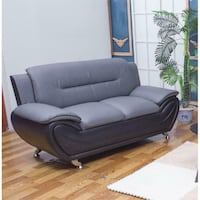 Kingway Modern Furniture Oreo Faux Leather Living Room Love Seat Sofa Couch | Black/Grey South Pasadena