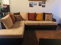 Beige Suede Couch with Suede Pillows Davie