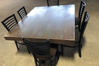 "Solid Wood Table with Steel Legs + 6 Chairs - 62x49""  Toronto"