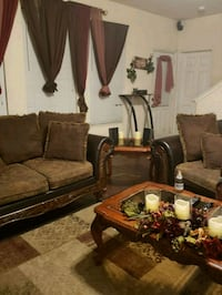 brown wooden framed brown padded sofa set and tabl Humble