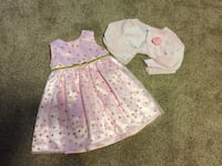 Pink and gold polka dot dress 18-24months
