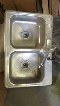 Stainless steel double sink with high faucet and extra hose, Niagara Falls, L2E 1P7