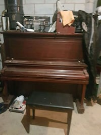 brown wooden upright piano with chair Vaughan, L4H 3N5