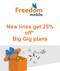 Freedom mobile 25% off code for new activations with $50+ plans Toronto, M5S 3E1