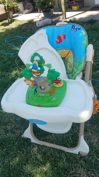 baby's white, blue and green Fisher-Price highchair