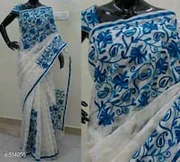 White with blue floral border Dehradun