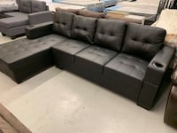 Brand new black faux leather sectional sofa warehouse sale  多伦多