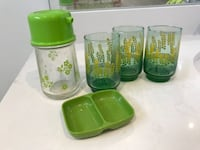Vintage Green Glassware Set of 3 / Oil and Condiment Dish Toronto