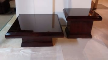 Mahogany wood coffee table and end table $35.00 each