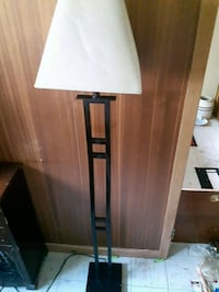 brown wooden base white lampshade floor lamp Welland