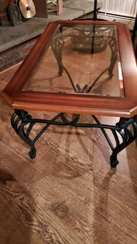 Wrought iron coffee table with wood frame and glass insert Monroe, 10950
