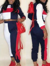 women's blue and red pants set