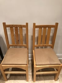 Two solid white oak dining chairs Toronto, M6J 2M7