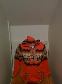orange and brown knitted pullover hoodie