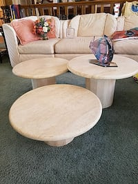 3 marble mushroom coffee tables