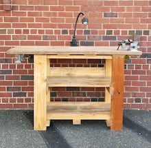 Work bench, reclaimed wood, handmade, swivel vise, table lamp