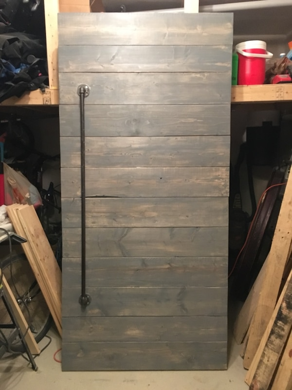 Used Delivery Inclu Grey Hand Stained Wooden Barn Door With Pipe