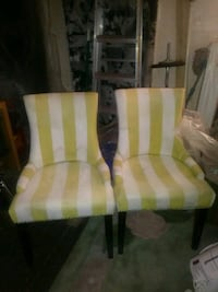 white and yellow padded armchair