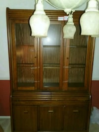 brown wooden framed glass display cabinet Alexandria