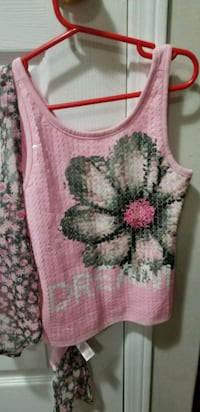pink and white floral tank top Milton