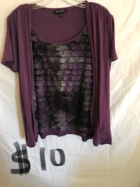Gently worn and in great condition. Purple, Gray, and black ruffle blouse. Sz L Spirit Lake, 83869