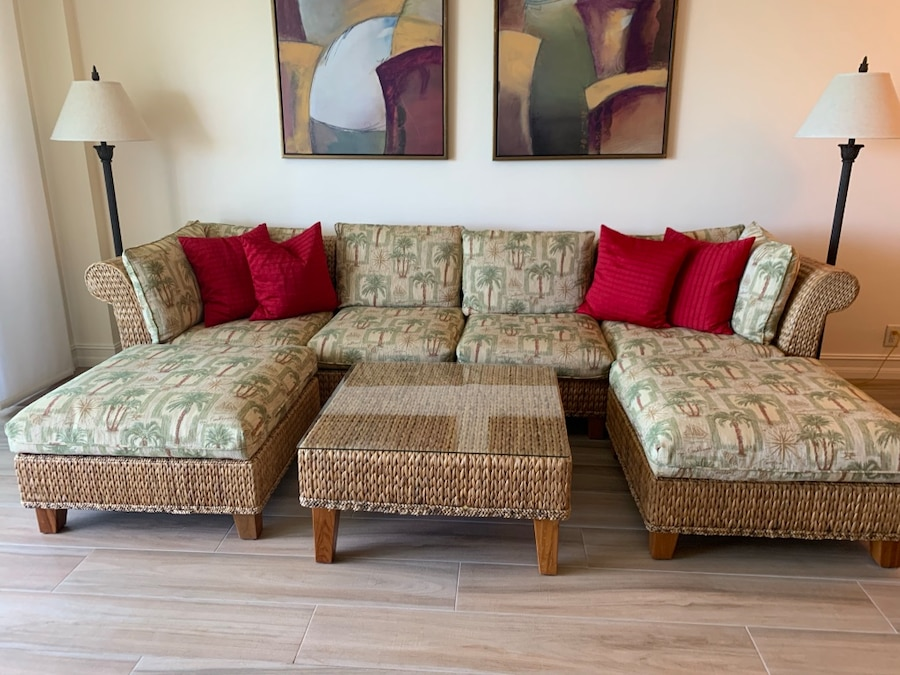Pristine Condition, Tommy Bahama Home Sectional Sofa With Matching Coffee  Table
