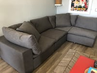 Gray fabric sectional sofa with throw pillows Glendale, 91207