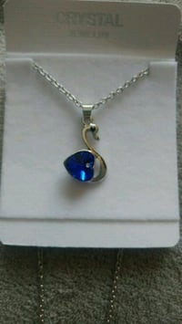 New blue crystal heart swan pendant necklace Montreal, H8T