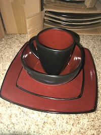 2- lowered price - Brand new Gibson black and red dinner set