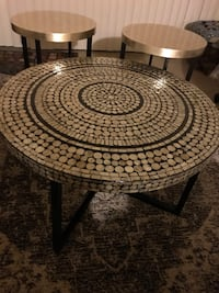 """New set of living room tables handcrafted mosaic coffee table 31x18""""round two end table 18x20"""" round click on my profile picture on this page to check out my other listings message me if you interested pick up in Gaithersburg Maryland 20877 all sales fina Gaithersburg, 20877"""