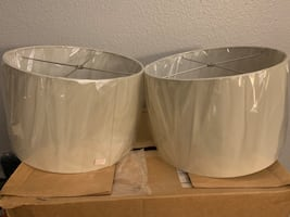 Off white drum shaped lampshades