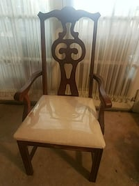 brown wooden frame white padded chair Upper Darby, 19082