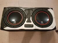 two black-and-gray subwoofers speaker Olmito, 78575